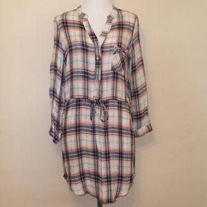 Plaid Flannel Tunic Style Dress